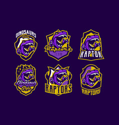 set dinosaur emblems sports logos dino a vector image