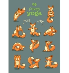 Set of cartoon funny foxes doing yoga position vector