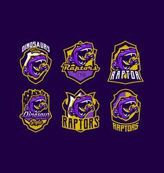 set of dinosaur emblems sports logos dino a vector image