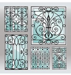 Set of iron window latticies vector