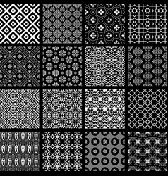 set of monochrome retro seamless patterns vector image