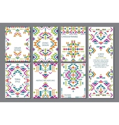 Set of seven cards Ethnic ornate pattern vector