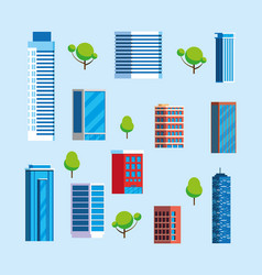 Set towers apartments and office building vector