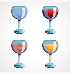 set wine glasses empty with white pink vector image