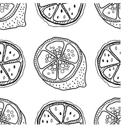 slices of lemons seamless pattern with hand drawn vector image