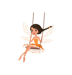 Smiling fairy with magic wings cartoon girl vector