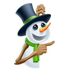 snowman showing christmas message vector image
