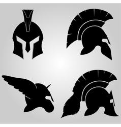 spartans helmets set vector image