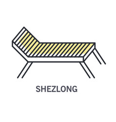 sun lounger and sunbed furniture icon at pool side vector image
