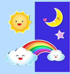 sun rainbow paper and cloud paper with shadow vector image