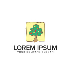 tree handrawn logo design concept template vector image