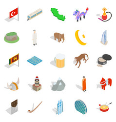 Turkey icons set isometric style vector