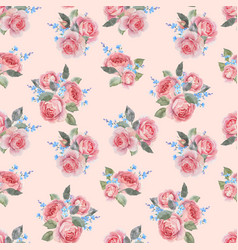 Watercolor rose floral pattern vector