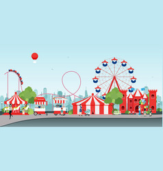 wheel amusement parks vector image