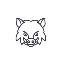 wild boar line icon sign on vector image