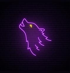 wolf head neon sign purple wild bright vector image
