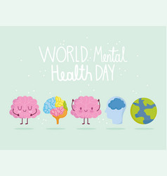 world mental health day brain characters planet vector image