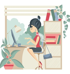 Young business woman using computer at office vector image