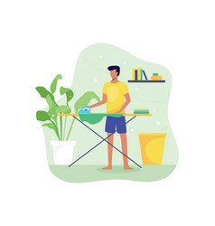 Young man ironing clothes vector