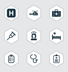 antibiotic icons set collection of nanny chest vector image vector image