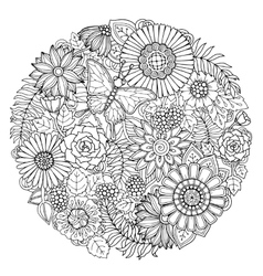 Circle summer doodle flower ornament with vector image vector image