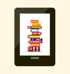 e-book reader e-reader device with books on vector image vector image