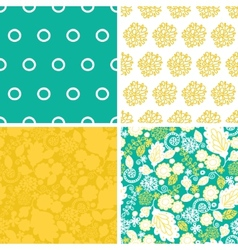 emerald flowerals set of four marching vector image