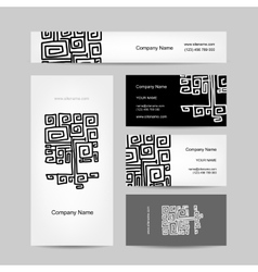 Ethnic ornamental tree business cards design vector image