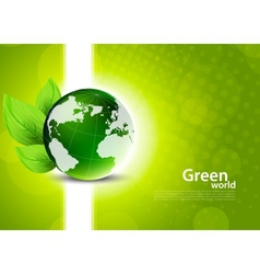Green background with globe and leaves vector image vector image