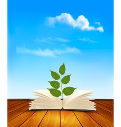 Green tree growing from open book vector image