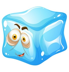 Ice cube with sleepy face vector image vector image