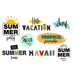set of summer letterings vector image vector image