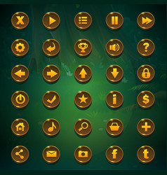 shadowy forest gui set buttons vector image