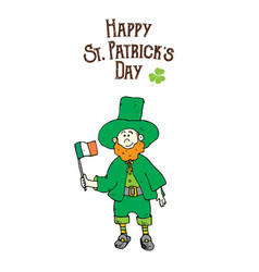 St patricks day hand drawn doodle leprechaun in a vector