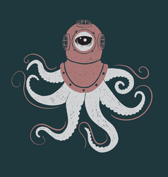 abstract octopus in helmet vector image