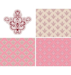 Abstract Seamless Pink Retro Background Set vector image