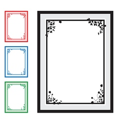 black floral corners background set vector image