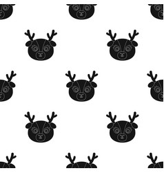deer muzzle icon in black style isolated on white vector image vector image