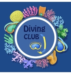 Diving club advertising with round decorative vector image vector image