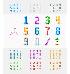 Isometric font from the cubes vector image
