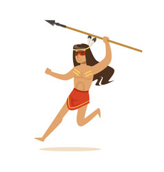 native american indian in loincloth running with vector image
