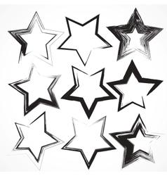 set of grunge star brush strokes vector image vector image
