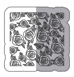 Sticker silhouette pattern roses floral design vector