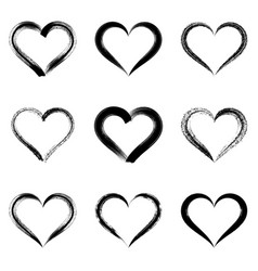 black brush strokes hearts vector image