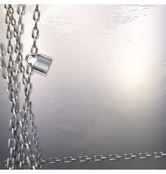 Chain and padlock on metal background vector image vector image
