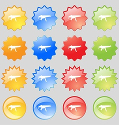machine gun icon sign Big set of 16 colorful vector image