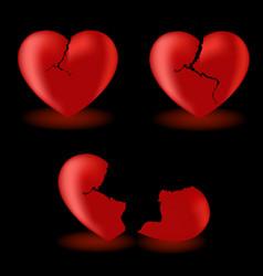 set from broken hearts vector image vector image