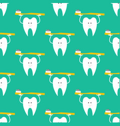 tooth with toothbrush pattern vector image