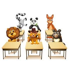 Animals in classroom vector image vector image