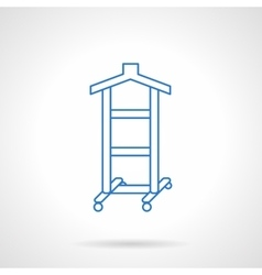Clothes hanger flat blue line icon vector image